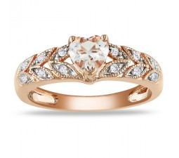 1 Carat Diamond and Morganite Engagement Ring in Pink Gold