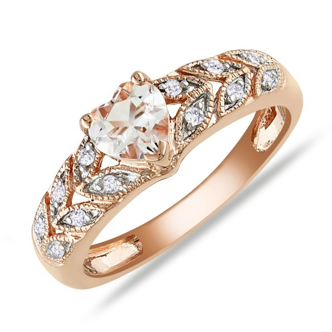 Fascinating Diamond and Morganite Cheap Engagement Ring 1 00 Carat Diamond on