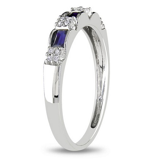 beautiful sapphire and diamond wedding ring band for her in white gold - Wedding Ring Bands For Her