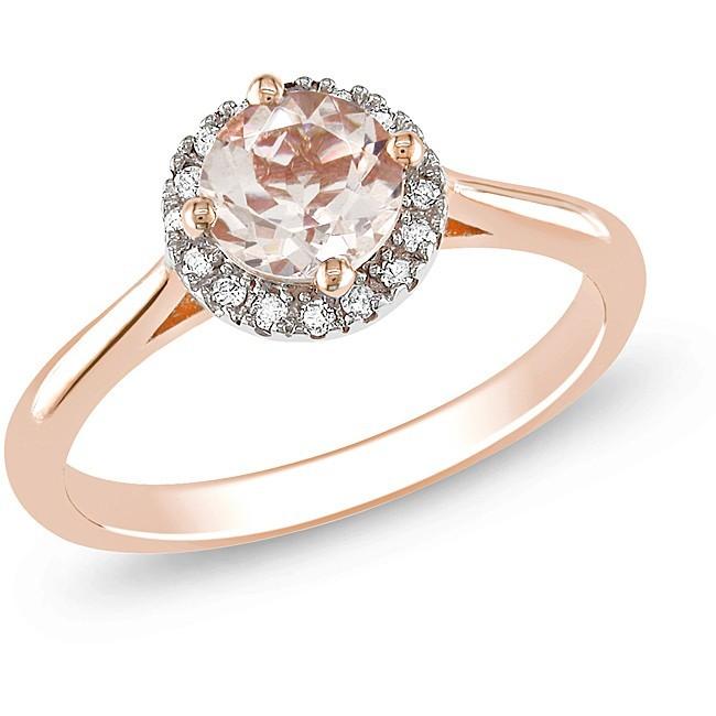1 Carat Diamond And Morganite Engagement Ring In Pink Gold