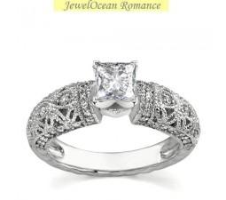 Vintage 1 Carat Princess Engagement Ring in White Gold