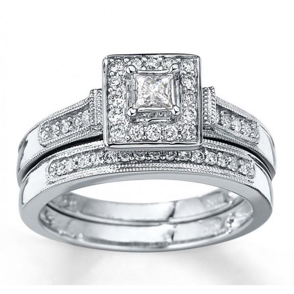 Closeout Sale:1 Carat Halo Princess Diamond Wedding Set