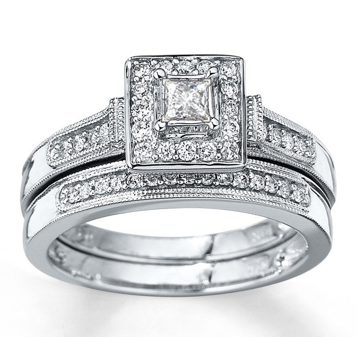 closeout sale1 carat halo princess diamond wedding set - Princess Cut Diamond Wedding Ring Sets
