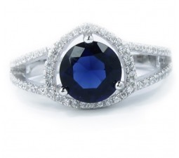 Luxurious Antique 1 Carat Created Sapphire Engagement Ring in 18k Gold over Silver
