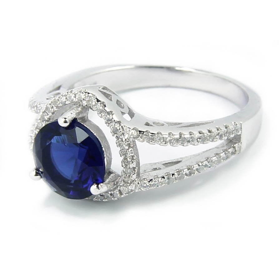 Luxurious Antique 1 Carat Created Sapphire Engagement Ring in 18k Gold over S