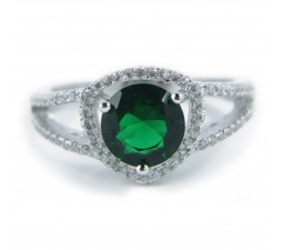 Luxurious Antique 1 Carat Created Green Emerald Engagement Ring in 18k Gold over Silver