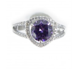 Luxurious Antique 1 Carat Created Amethyst Engagement Ring in 18k Gold over Silver
