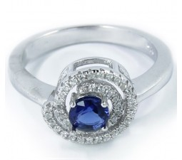 Circle Shape Engagement Ring with 1 Carat Created Blue Sapphire in 18k Gold over Silver
