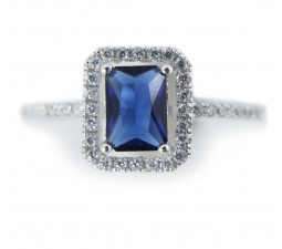 Beautiful 1 Carat Blue Cubic Zirconium Antique Engagement Ring in Silver