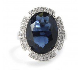 Huge 3.5 Carats Blue Cubic Zirconia Antique Engagement Ring on Sale below $100
