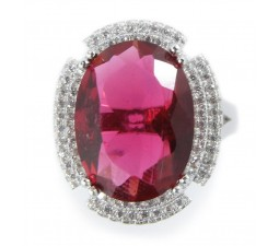Huge 3.5 Carats Red Cubic Zirconia Antique Engagement Ring on Sale below $100