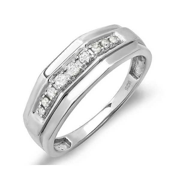 1 4 Carat Mens Wedding Ring Band For Him In Sterling Silver