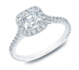 Gia certified 1 carat Princess Halo diamond engagement ring