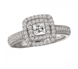 Designer 2 Carat Halo Princess engagement ring