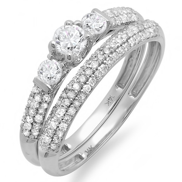 Beautiful 2 Carat Round Trilogy Design Wedding Ring Set