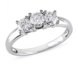 1 Carat Three Stone Round Trilogy Diamond Engagement Ring in White Gold