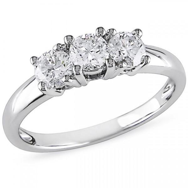 1 Carat Three Stone Round Trilogy Diamond Engagement Ring in White Gold