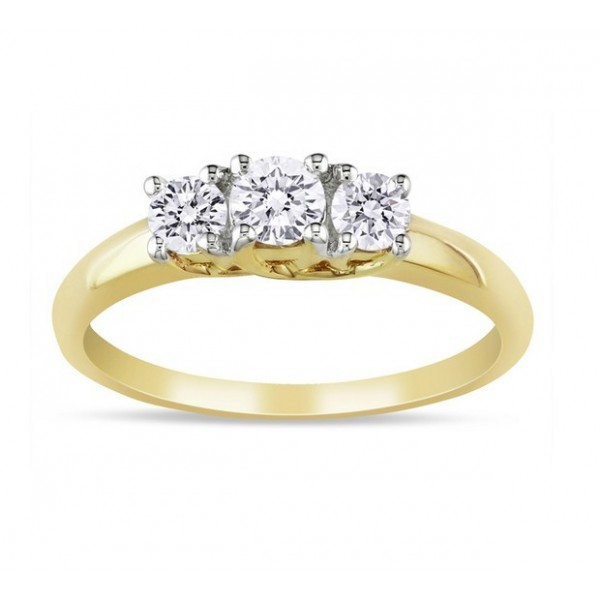Classic Three Stone Round Half Carat Trilogy Engagement Ring in Yellow Gold