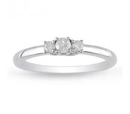 Half Carat Three Stone Trilogy Round Diamond Engagement Ring for Women
