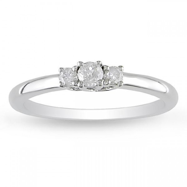 Half Carat Three Stone Trilogy Round Diamond Engagement Ring for Women