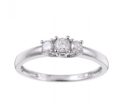 Three Stone Round Trilogy Half Carat Diamond Engagement Ring in White Gold