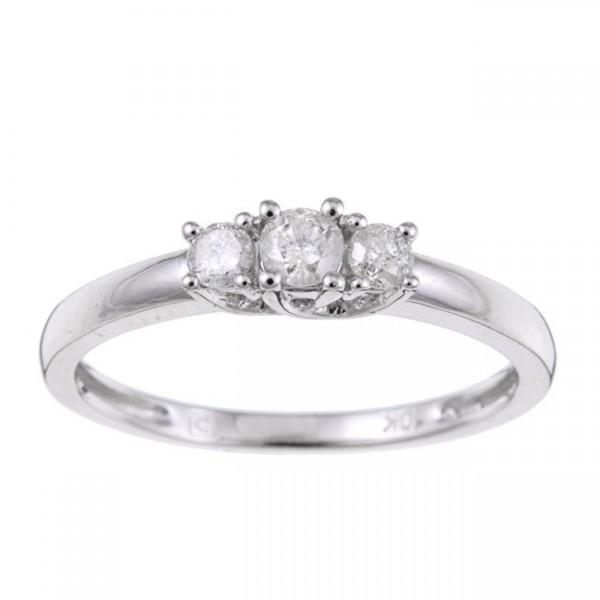 Three Stone Round Trilogy Half Carat Diamond Engagement Ring in White Gold
