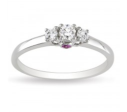 Half Carat Three Stone Trilogy Round Diamond and Pink Sapphire Engagement Ring in White Gold