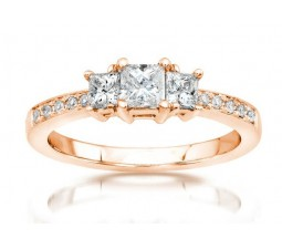 Half Carat Three Stone Princess Diamond Engagement Ring in Rose Gold