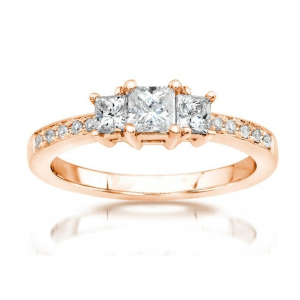 Half Carat Three Stone Princess Diamond Engagement Ring in Rose Gold