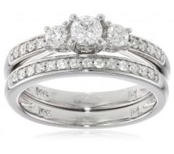 Antique 1 Carat Three Stone Round Diamond Wedding Ring Bridal Set in White Gold