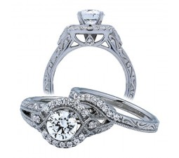 Antique 1 Carat Halo Diamond Bridal Set in 14k White Gold