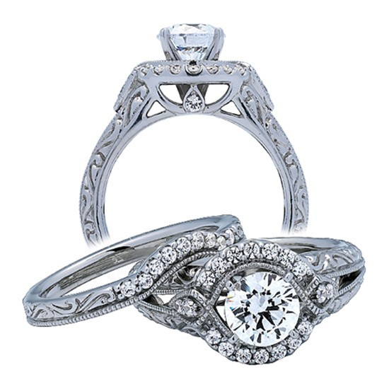 Alluring Halo Antique Cheap Diamond Bridal Set 1 Carat Round Cut Diamond on 1