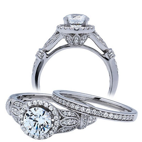 1 Carat Round Antique Wedding Ring Set for Her in 14k White Gold