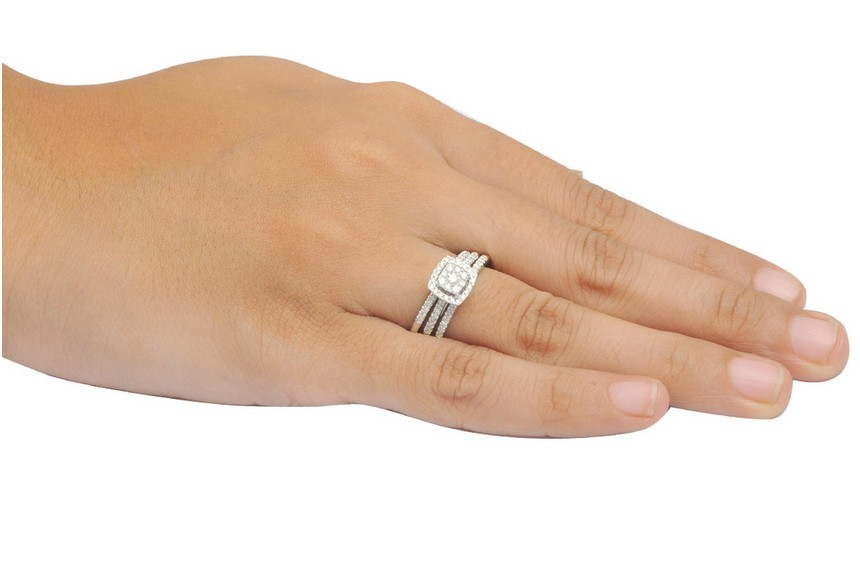 ... 1 Carat Trio Wedding Ring Set For Her In White Gold