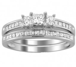 2 Carats Princess Diamond Wedding Ring Set for Her in White Gold