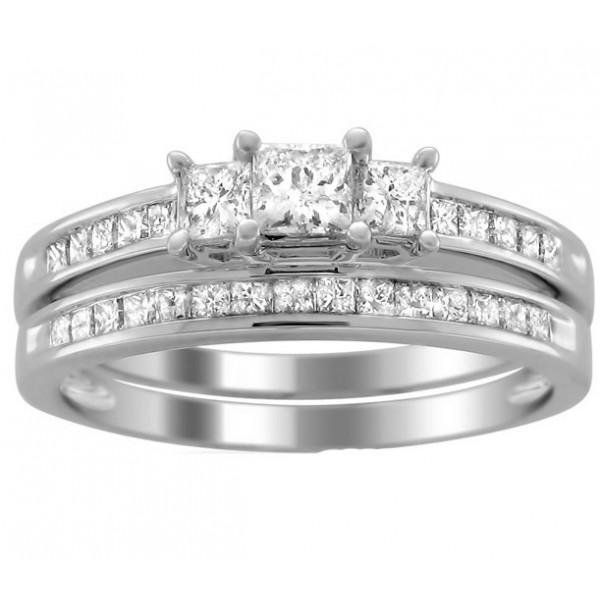 2 carats princess diamond wedding ring set for her in white gold - Diamond Wedding Ring Sets For Her