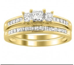 2 Carats Princess Diamond Wedding Ring Set for Her in Yellow Gold