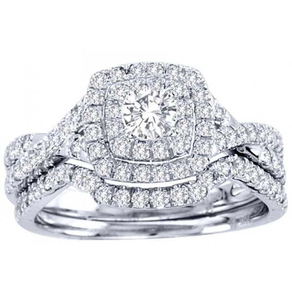 Huge 2 Carat Round Diamond Halo Bridal Ring Set in White Gold d569a2941b