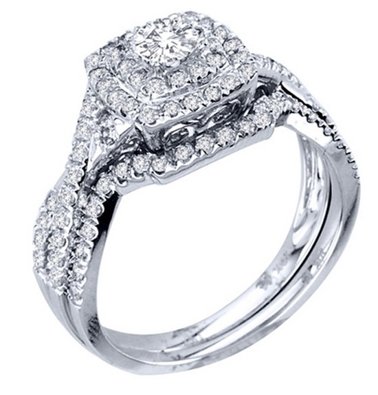huge 2 carat round diamond halo bridal ring set in white gold - Halo Wedding Ring Sets