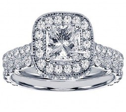 Luxurious 2.50 Carat Princess Halo Bridal Ring Set in 18k White Gold