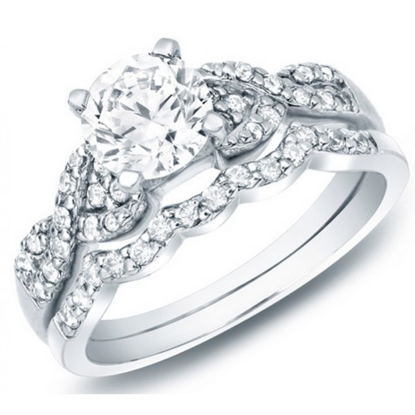 round cut diamond wedding women bridal ring set 10k white
