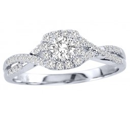 Closeout Sale Half Carat Round Halo Engagement Ring for Her in White Gold
