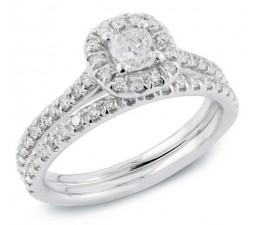 1 Carat Round Cut Diamond Classic Wedding Ring Set for Her 10K White Gold
