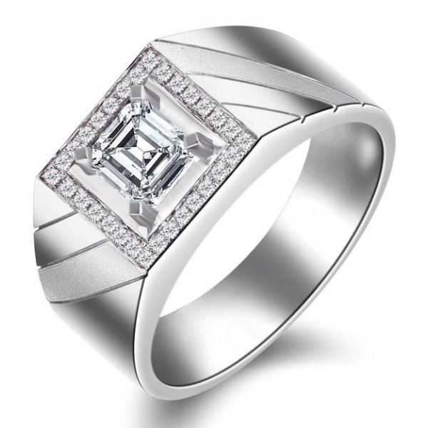 Men Diamond Wedding Ring Band For Him In Sterling Silver