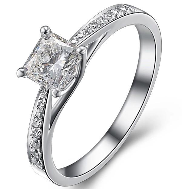 05 carat princess cut diamond diamond engagement ring classic style 10k white gold - 10k Wedding Ring