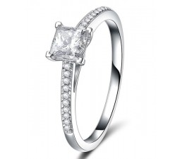 GIA certified 1 carat Princess Diamond Engagement Ring in Closeout Sale