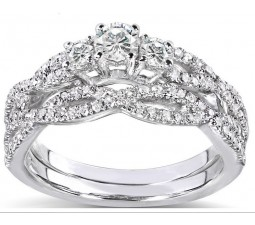 1 Carat Round Cut Diamond Antique Bridal Ring Set for Her 10K White Gold