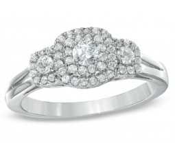 Three Stone Round Halo Diamond Engagement Ring for Her in White Gold
