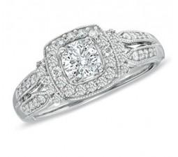 1 Carat Designer Antique Diamond Engagement Ring in White Gold