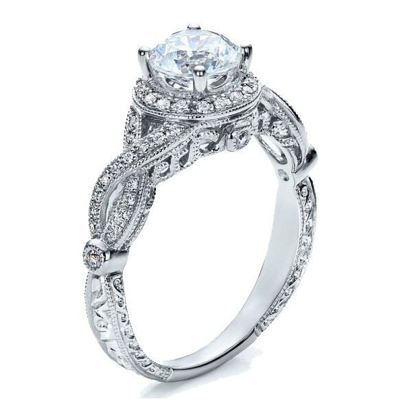 296a17db8 Pleasing Halo Diamond Engagement ring 1.00 Carat Round Cut Diamond ...
